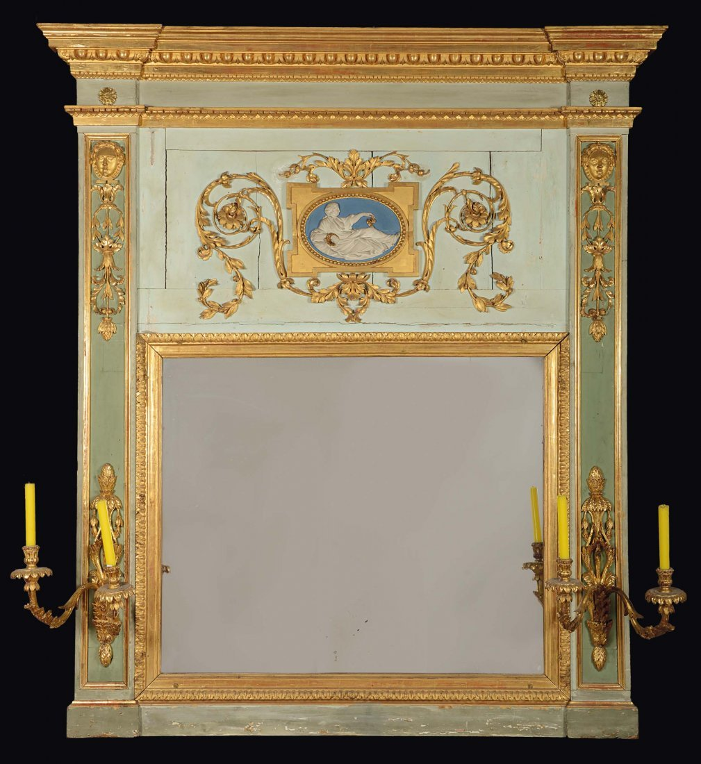 A Louis XVI mantelshelf lacquered with green and light