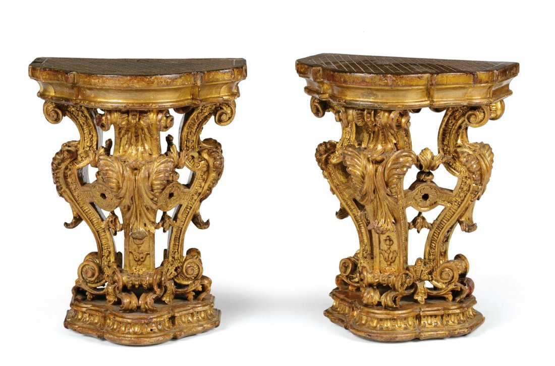 A pair of small shelves, Regency style, Piedmont, early