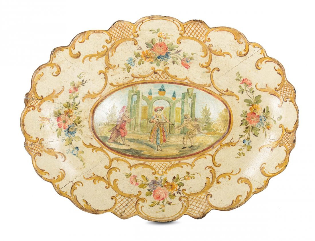 An oval tray with festooned edge, Veneto, late 18th