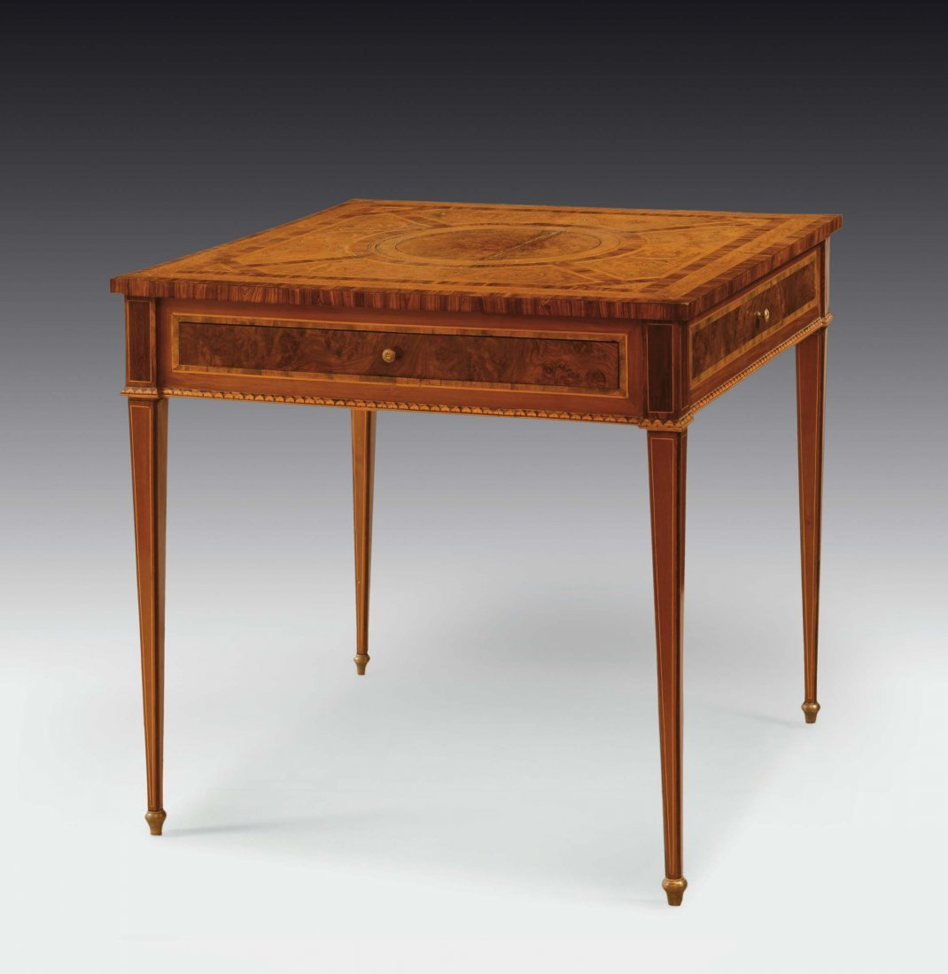 A small Louis XVI squared walnut, briar-root and