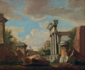 Scuola Romana Del Xviii Secolo, Capriccio Con Rovine