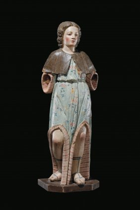 A Polychrome Wood Angel Sculpture, Central Italy, 17th