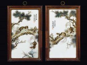 Four Polychrome Enamelled Porcelain Plaques Depicting