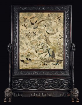 A Carved Wood Firescreen With A Silk Cloth Embroidered