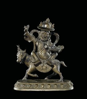 A Gilt Bronze Figure Of Sridevi On A Horse, China, Qing