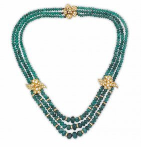 An Emerald, Gold And Diamond Necklace