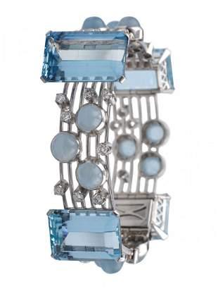 A platinum, aquamarine and diamond bracelet. Burle Marx