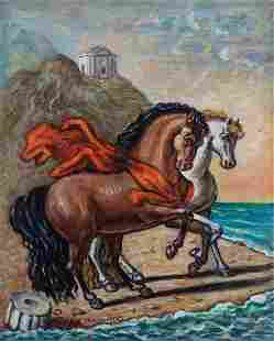 Giorgio De Chirico (1888-1978), Cavalli con drappo