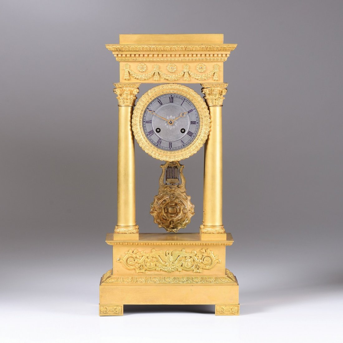 An ormolu portico clock, France, late 19th century