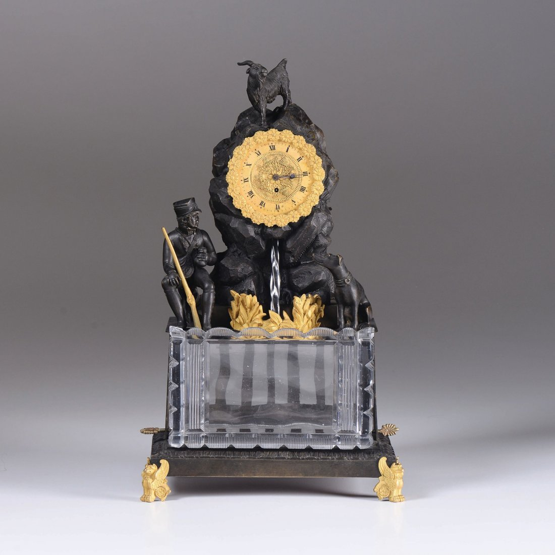 A Charles X table clock with fountian, 19th century