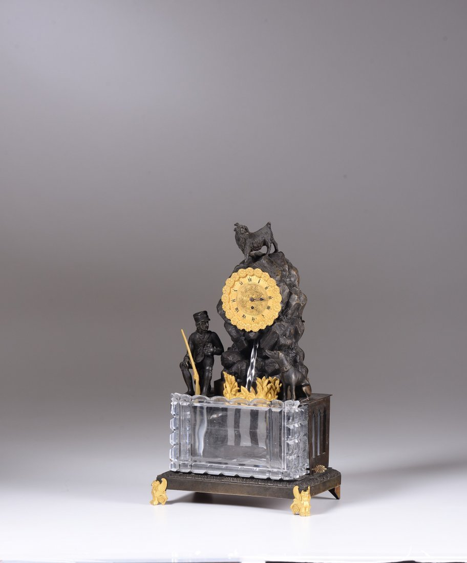 A Charles X table clock with fountian, 19th century - 2