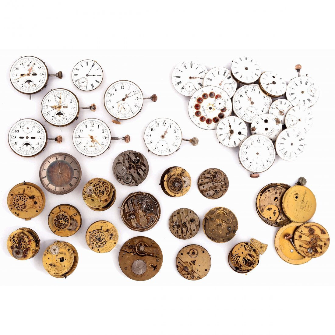 A Lot of pocket watch mechanisms, 18th-20th century