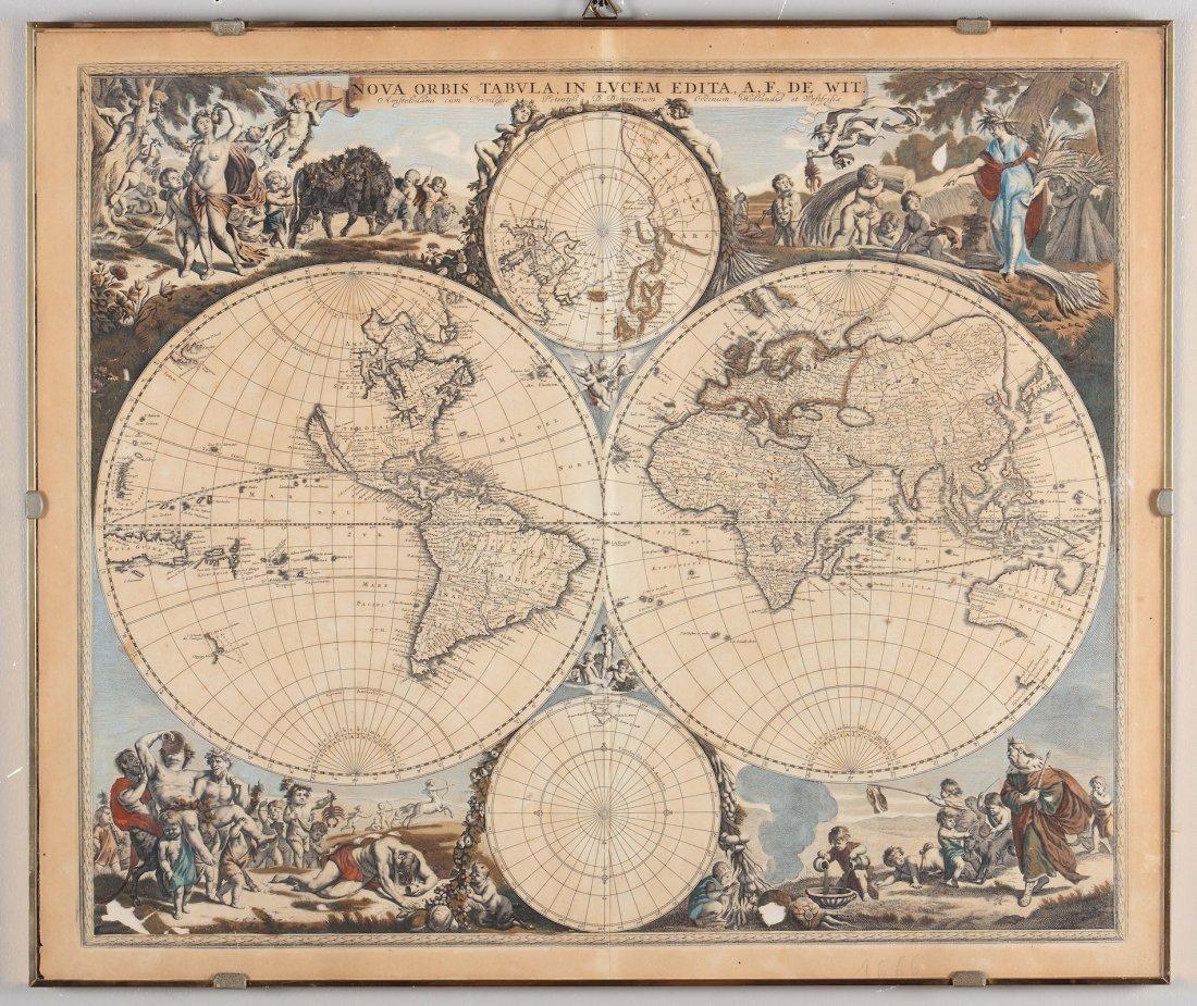 Planisfero terreste, edito da A.F. De Wit, XVIII