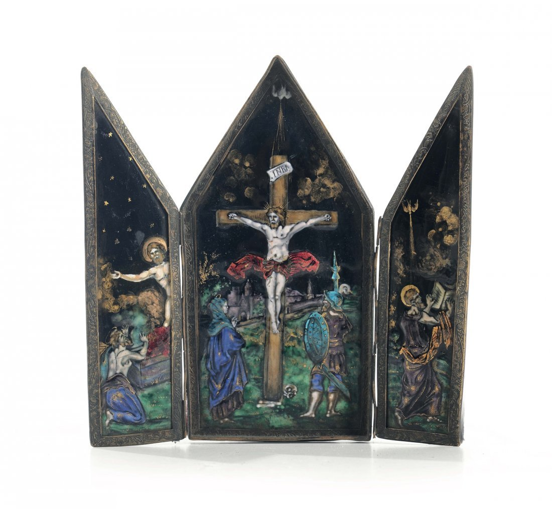 An enamel triptyque, Limoges, 19th-20th century