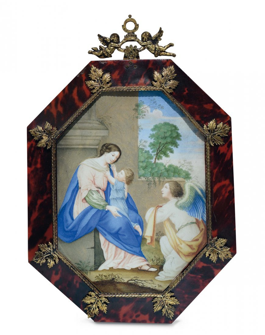 An octagonal shaped tempera on parchment painting of