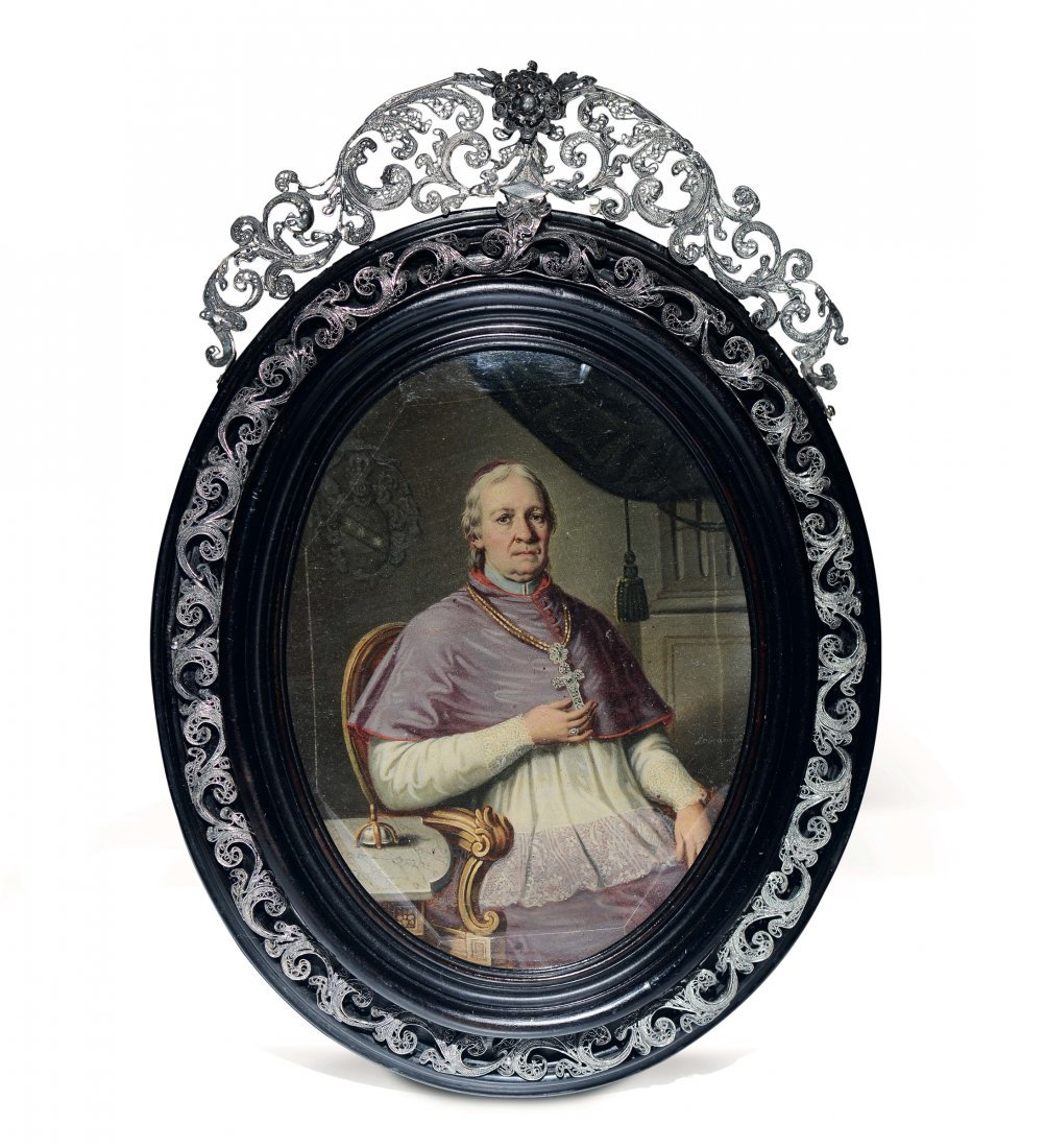 A signed Gruber oval painting of Pope Mastai Ferretti,