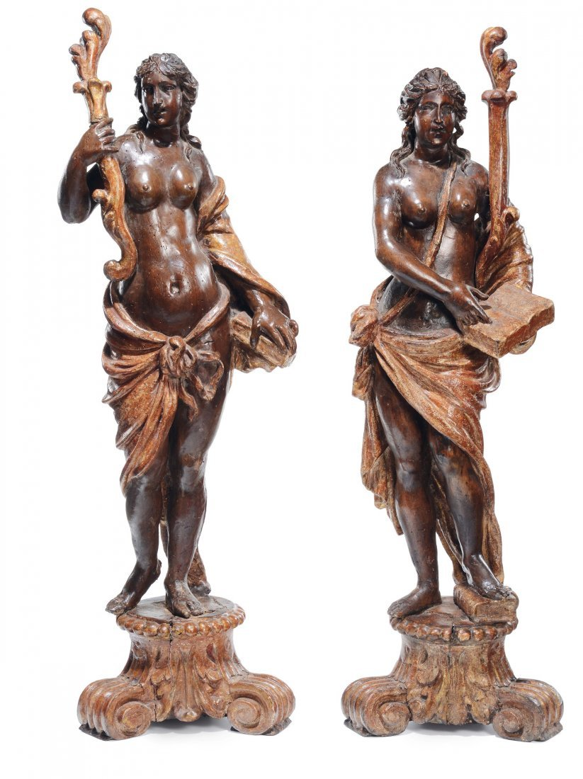 A pair of female sculptures, 18th century