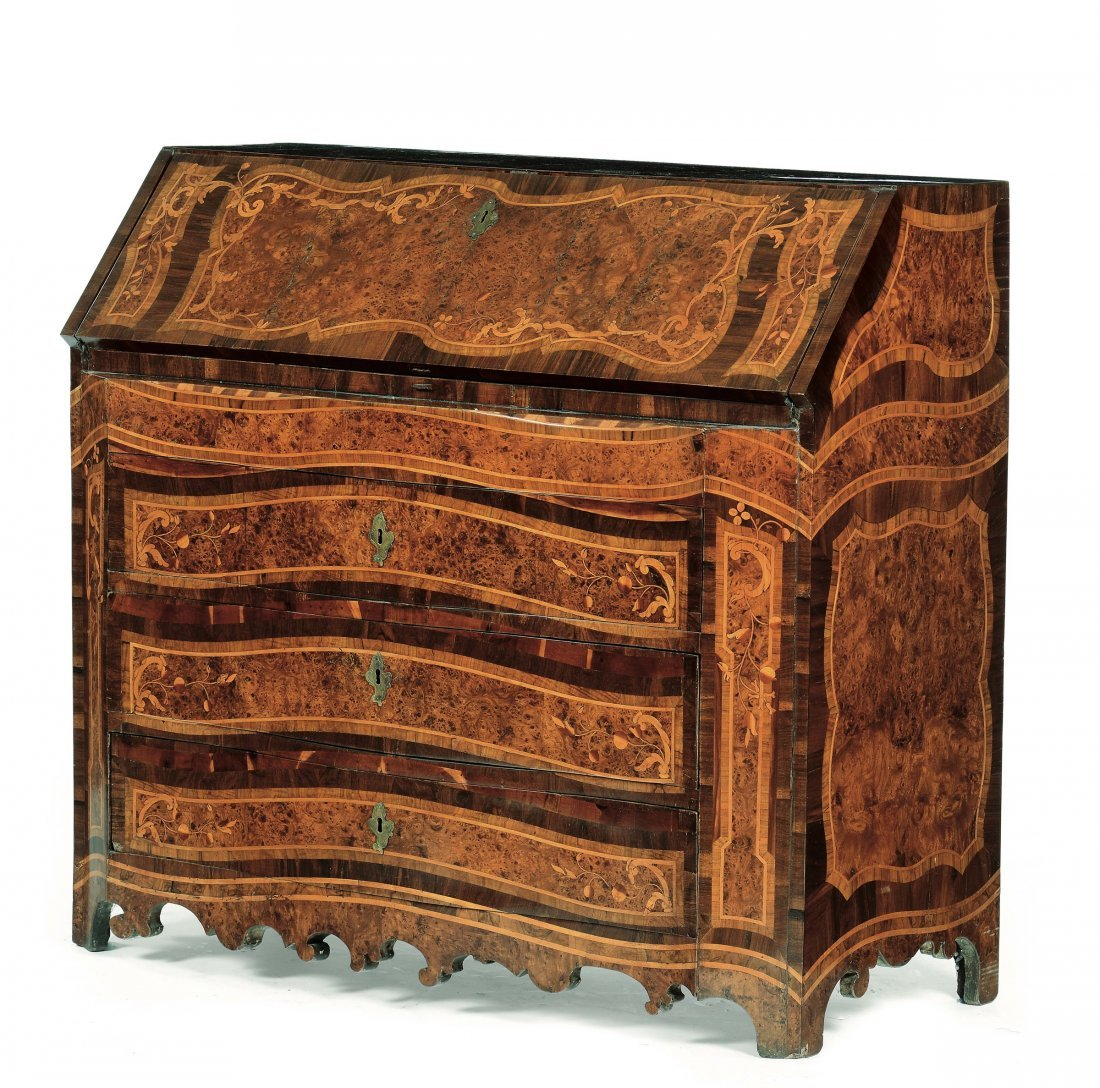 A Louis XV style, veneered and rosewood inlaid, bureau,