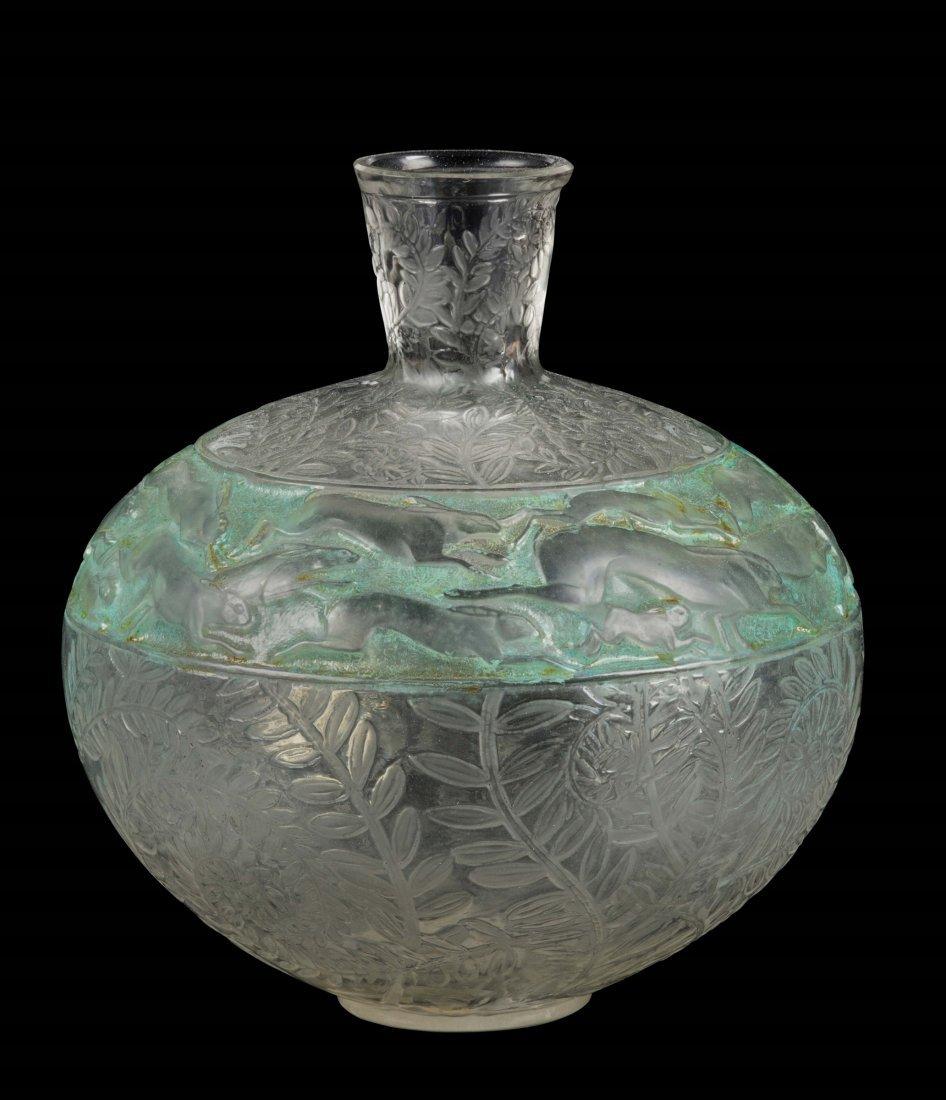 """René Lalique (1860-1945), France, """"Lièvres"""" vase,"""