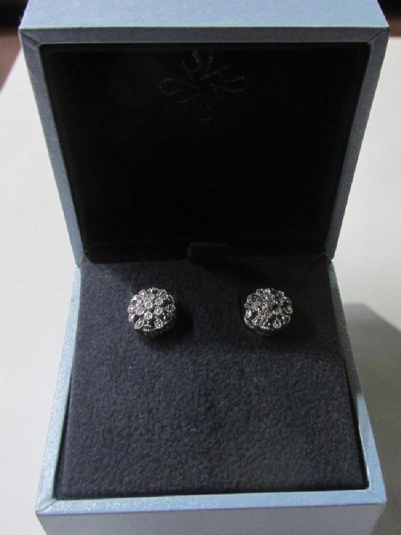Sterling Silver Diamond Accent Flower Earrings