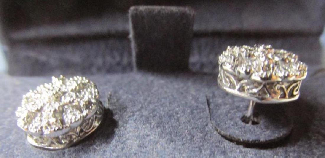 Sterling Silver Diamond Accent Flower Earrings - 2