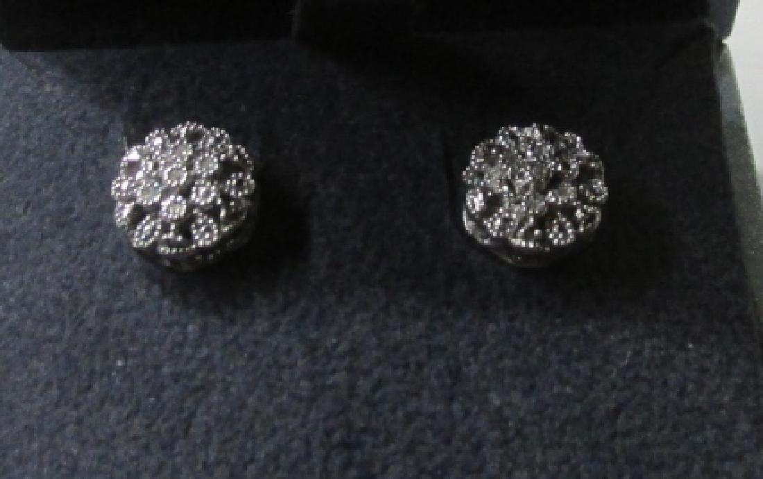 Sterling Silver Diamond Accent Flower Earrings - 4