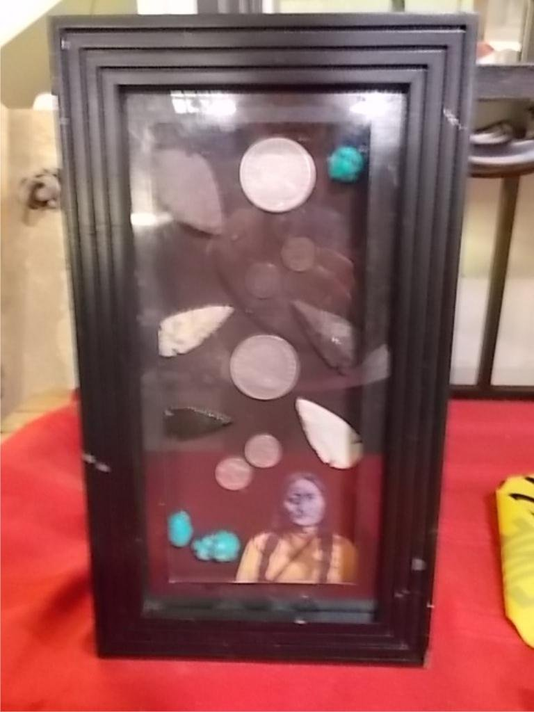 2: Shadow Box Arrow Heads-Turquoise- Silver Dollars