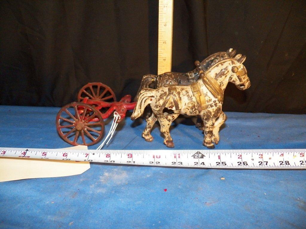 4: Vintage Cast Iron Fire Wagon Horses
