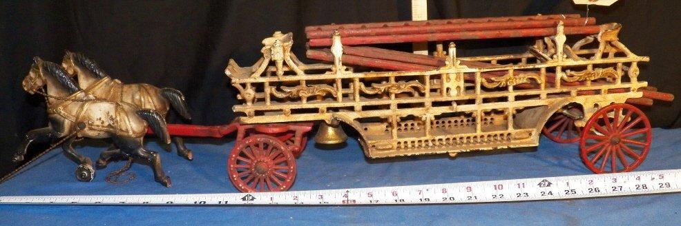 6: Vintage Cast Iron Fire Wagon & Horses