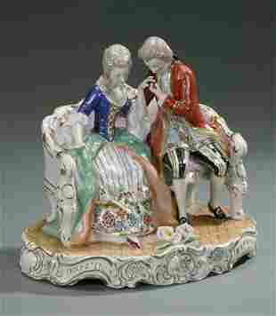 A CONTINENTAL PORCELAIN GROUP OF LOVERS