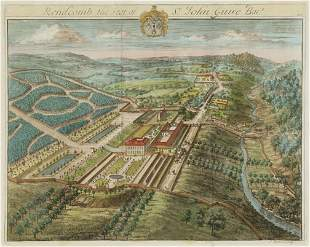 SIX HAND COLORED ENGRAVINGS OF GARDENS AN