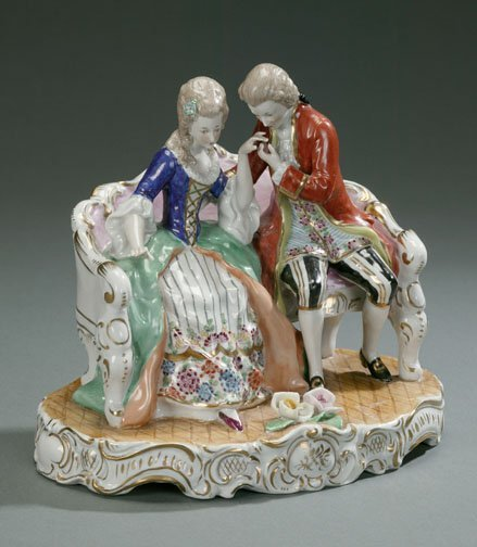 3: CONTINENTAL PORCELAIN GROUP OF LOVERS ON A