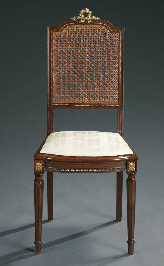 17: LOUIS XVI STYLE CHAIR.  With gilt-metal m