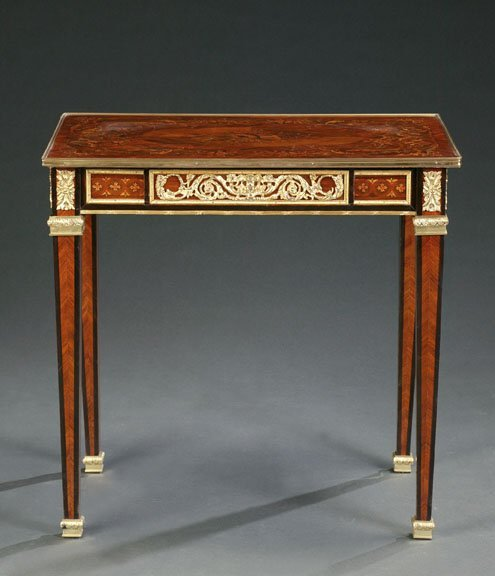 19: LOUIS XVI STYLE MARQUETRY AND SATINWOOD T