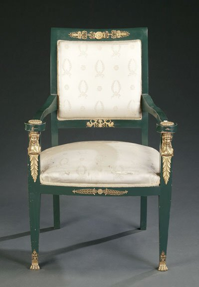 20: EMPIRE STYLE GREEN PAINTED AND UPHOLSTERE