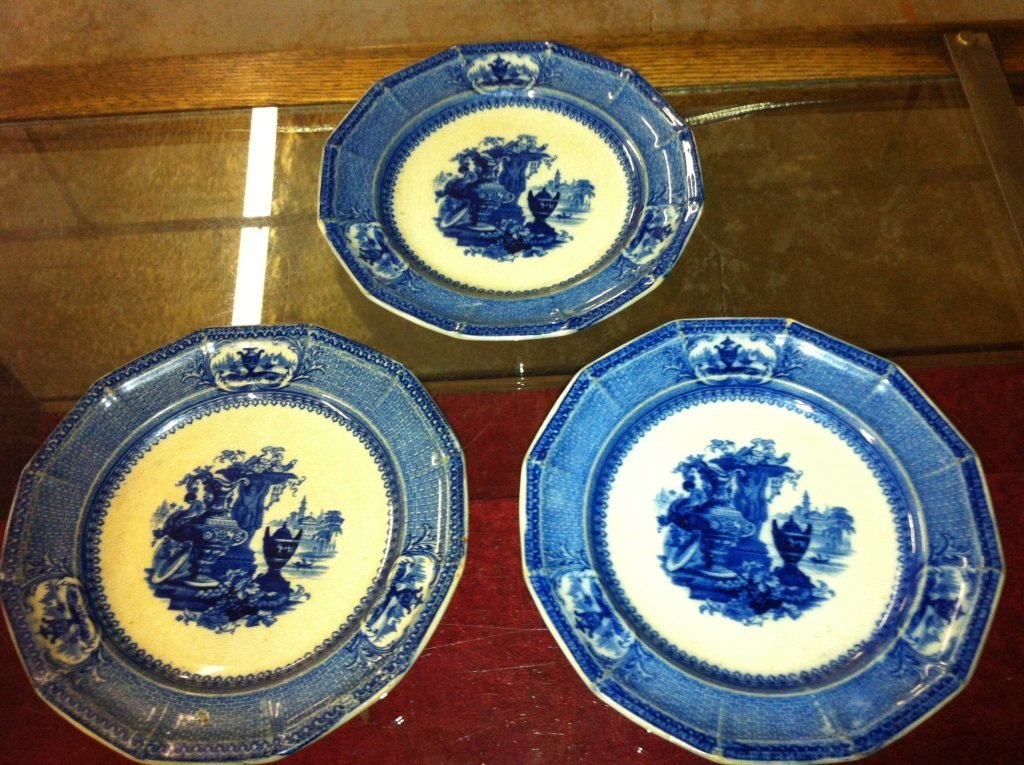 1011: Lot of 3 Antique Matching Flow Blue Dinner Plates