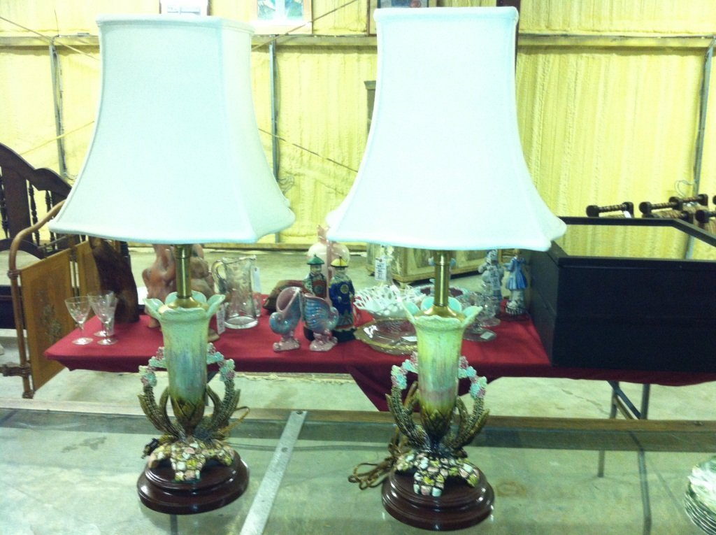 1013: Pair of French Porcelain Lamps with Shades