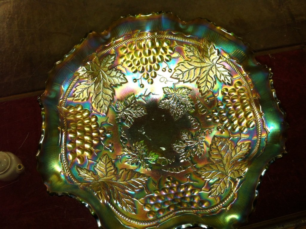 1014: Norwood Grape and Cable Green Carnival Glass Bowl