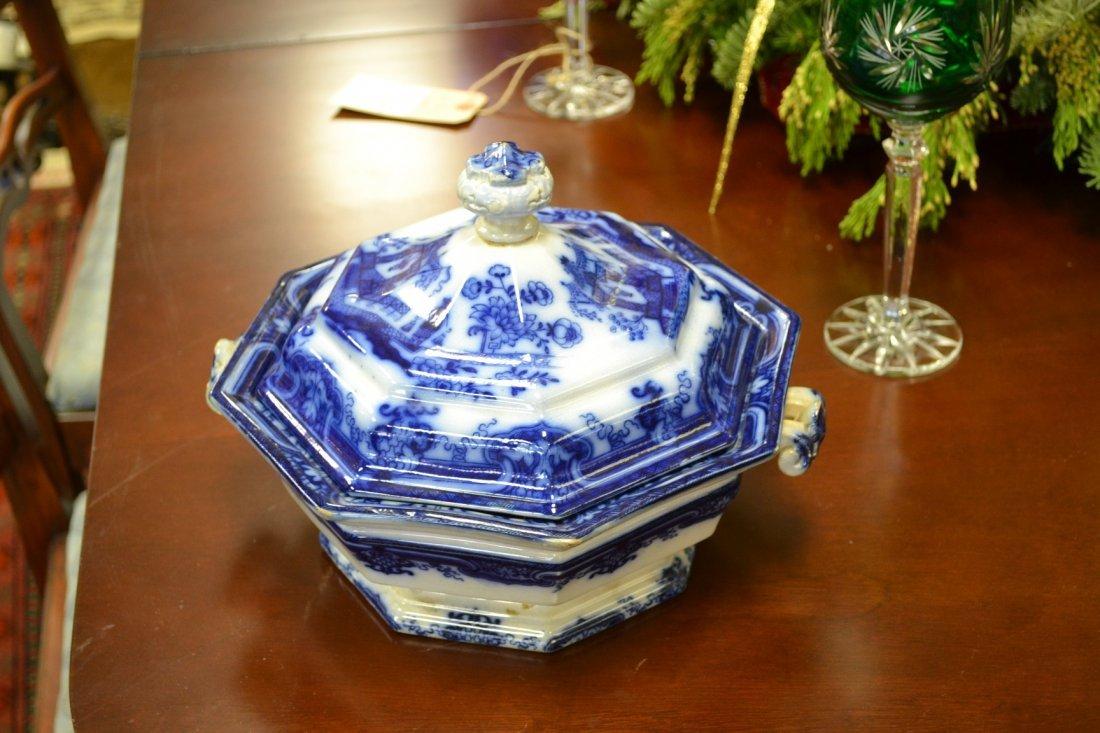 1017: Antique Flow Blue Covered Casserole
