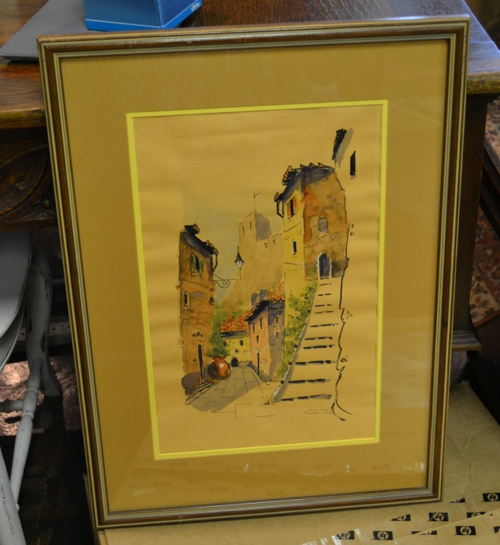 1077: Ink and Watercolor Village Scene Signed Rebasti