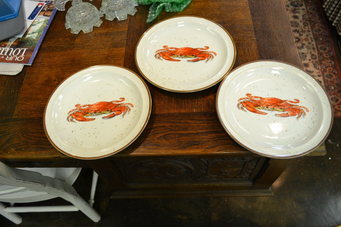 1143: Set of 3 Plates with Crab Motif Marked D.H. Holme