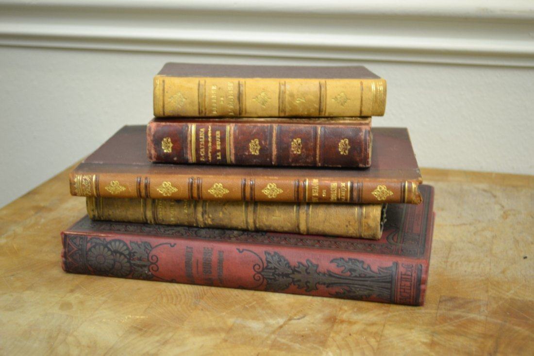 1266: Lot of 5 Leather Bound Books
