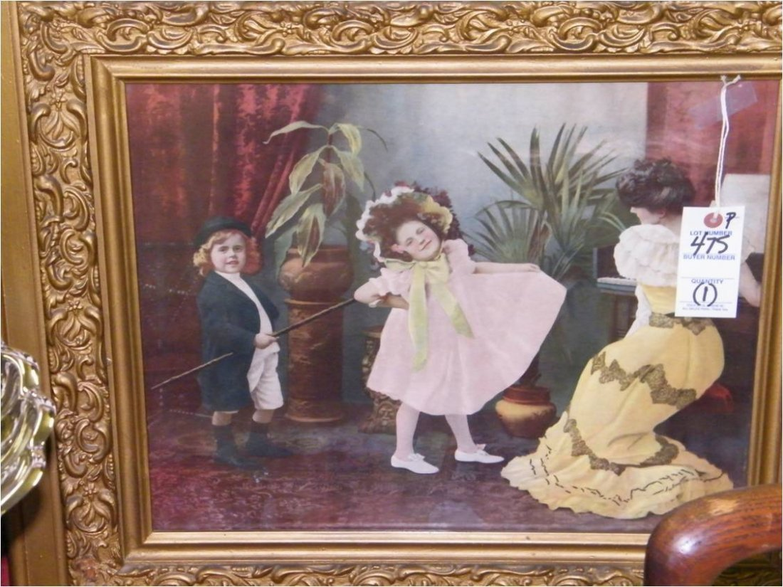 """1020: Framed Chromolithographic Print """"The Dance Review"""
