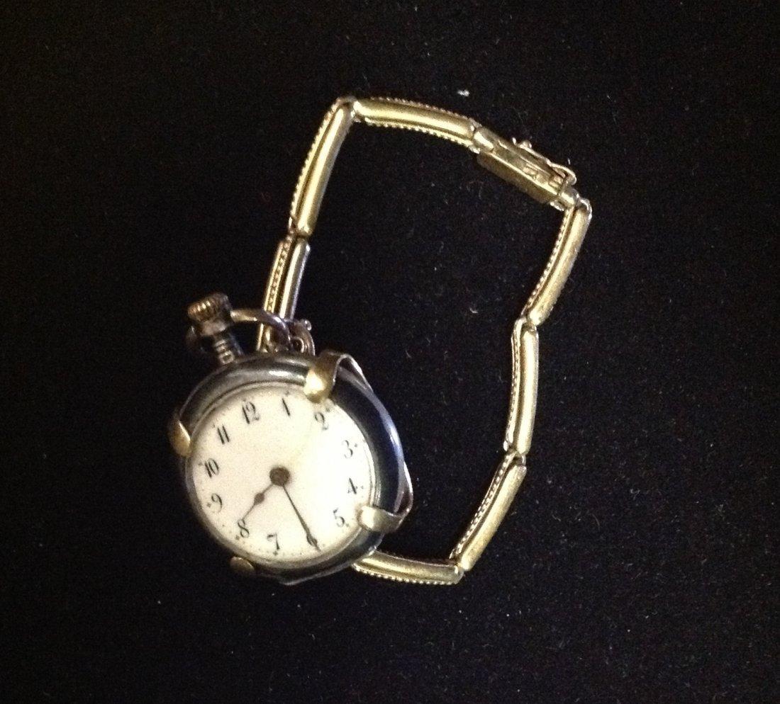 Ladies Niello Silver Pocket Watch & 10k Holder
