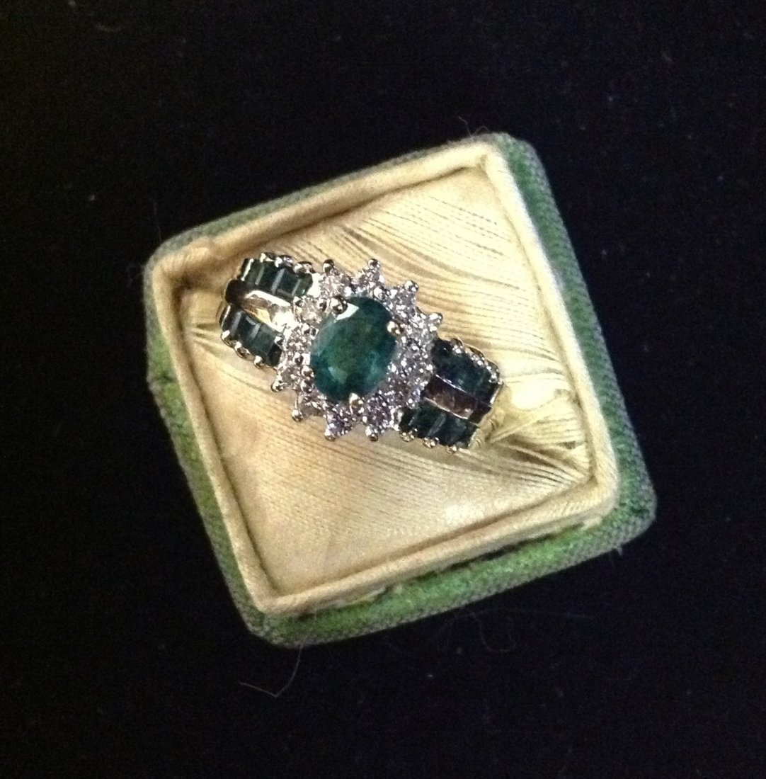 Emerald and Diamond Cocktail Ring in 14k Gold; 6.5g
