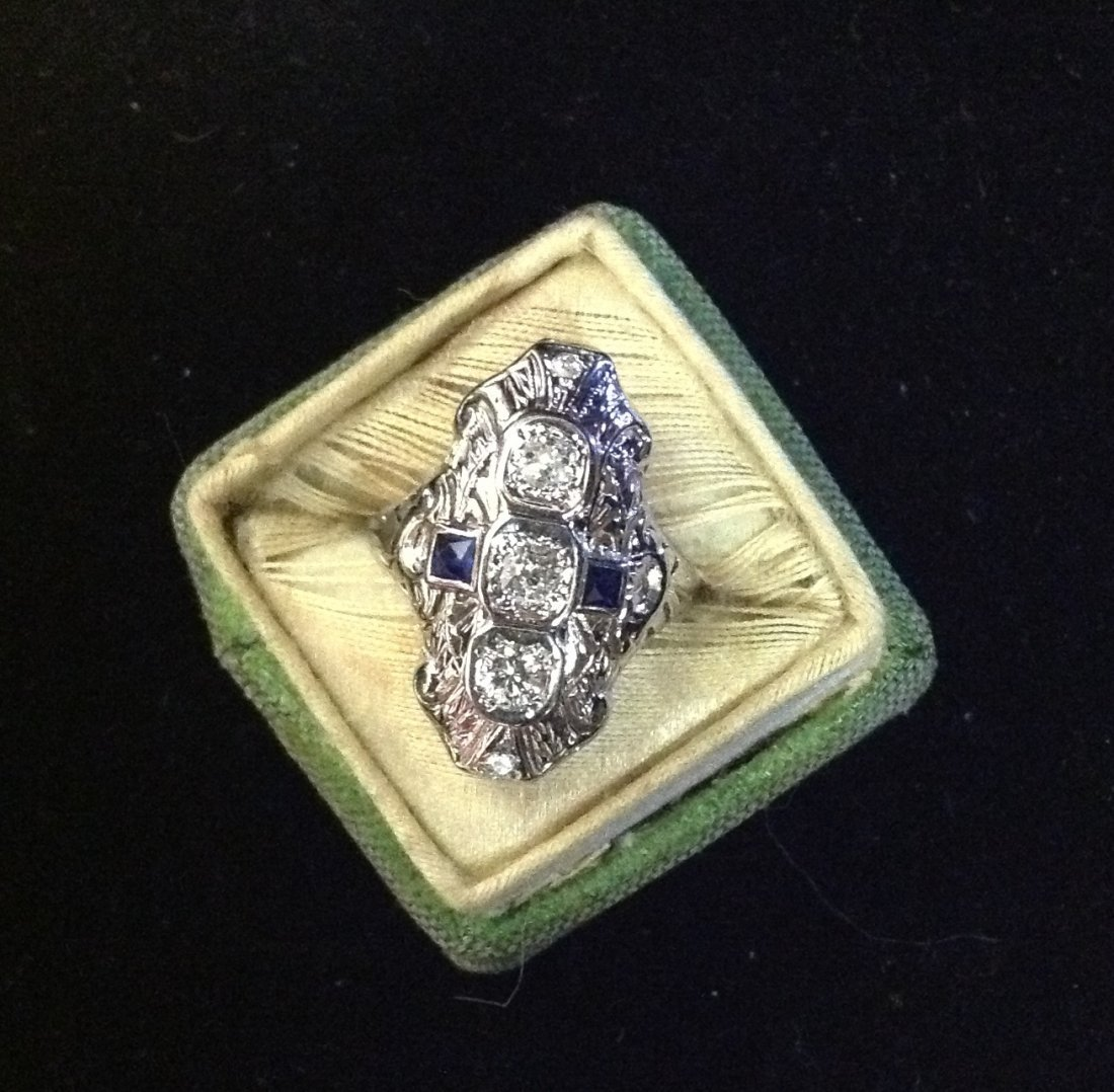 Edwardian Ring with Diamonds & Sapphires 10k; 3.9g