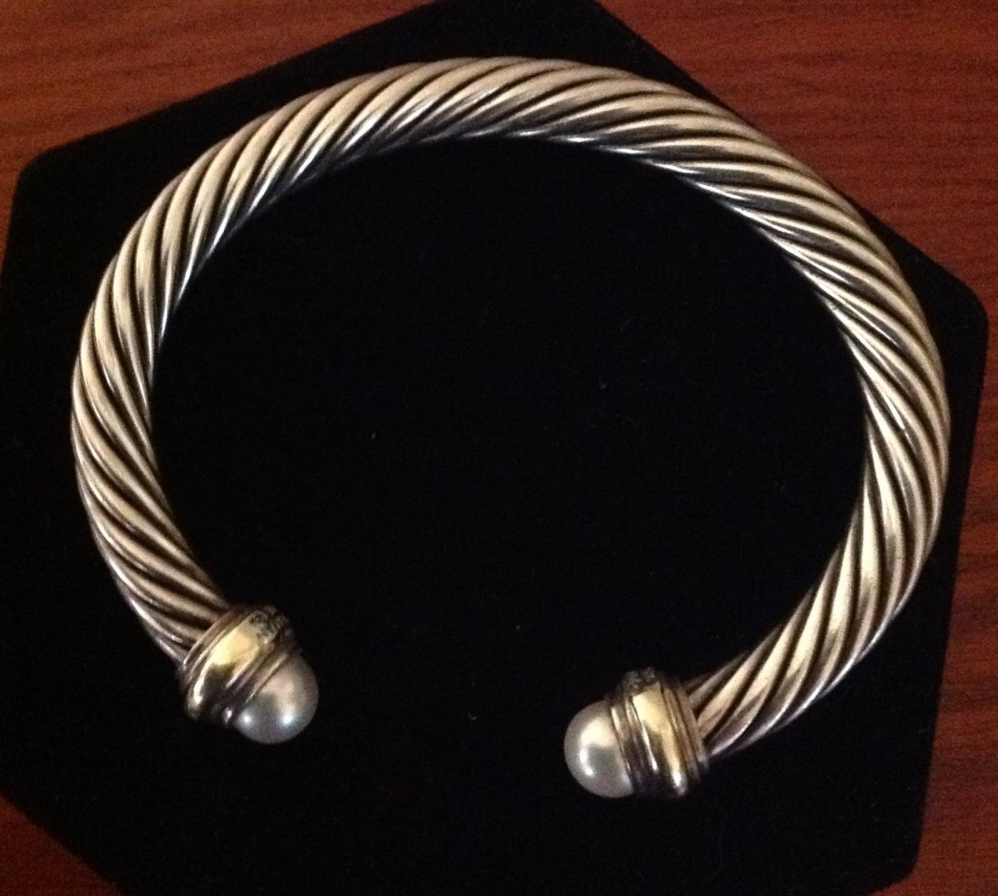 David Yurman Bangle Bracelet with Pearls