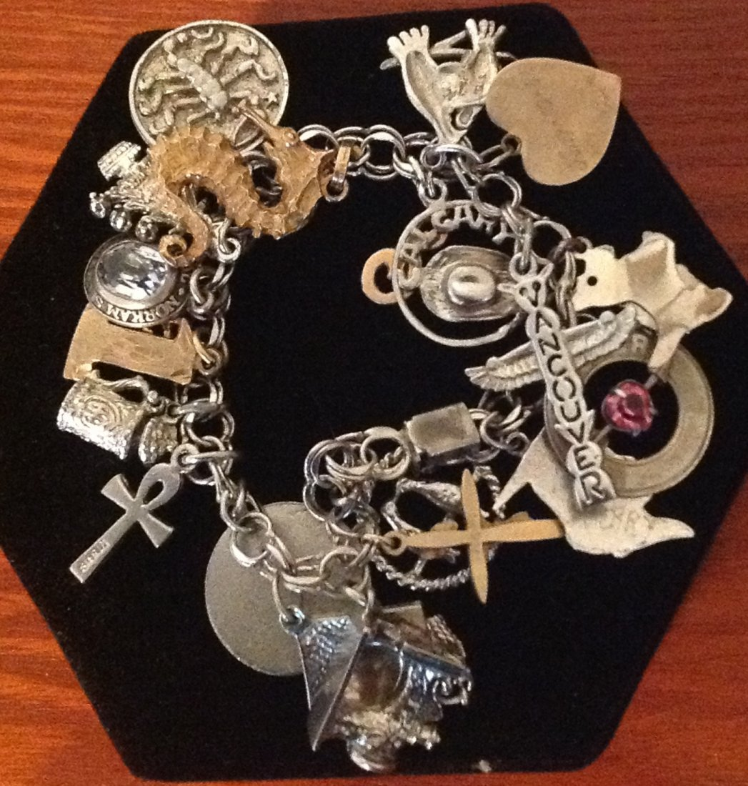 Vintage Charm Bracelet with Gold & Silver Charms, 43.1g