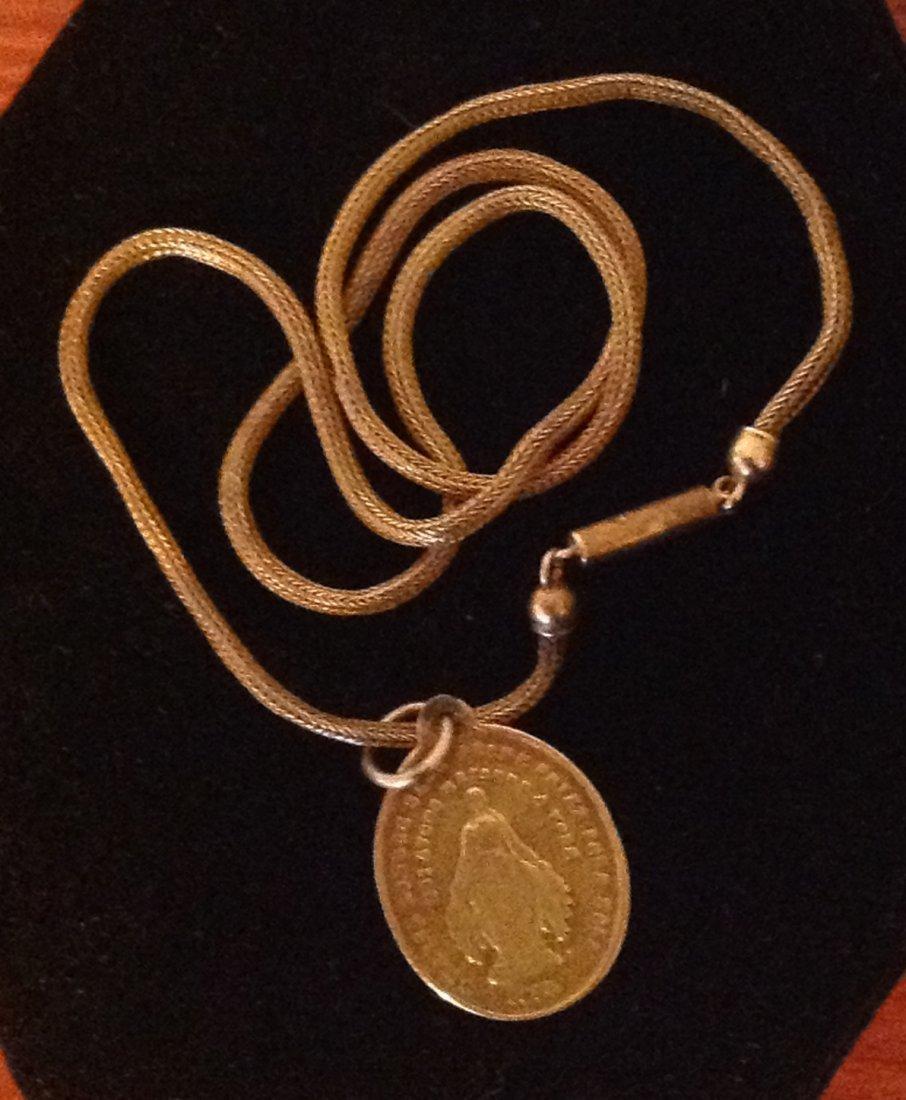 Vintage 14k Religious Medal on 12k Chain; 7.5g