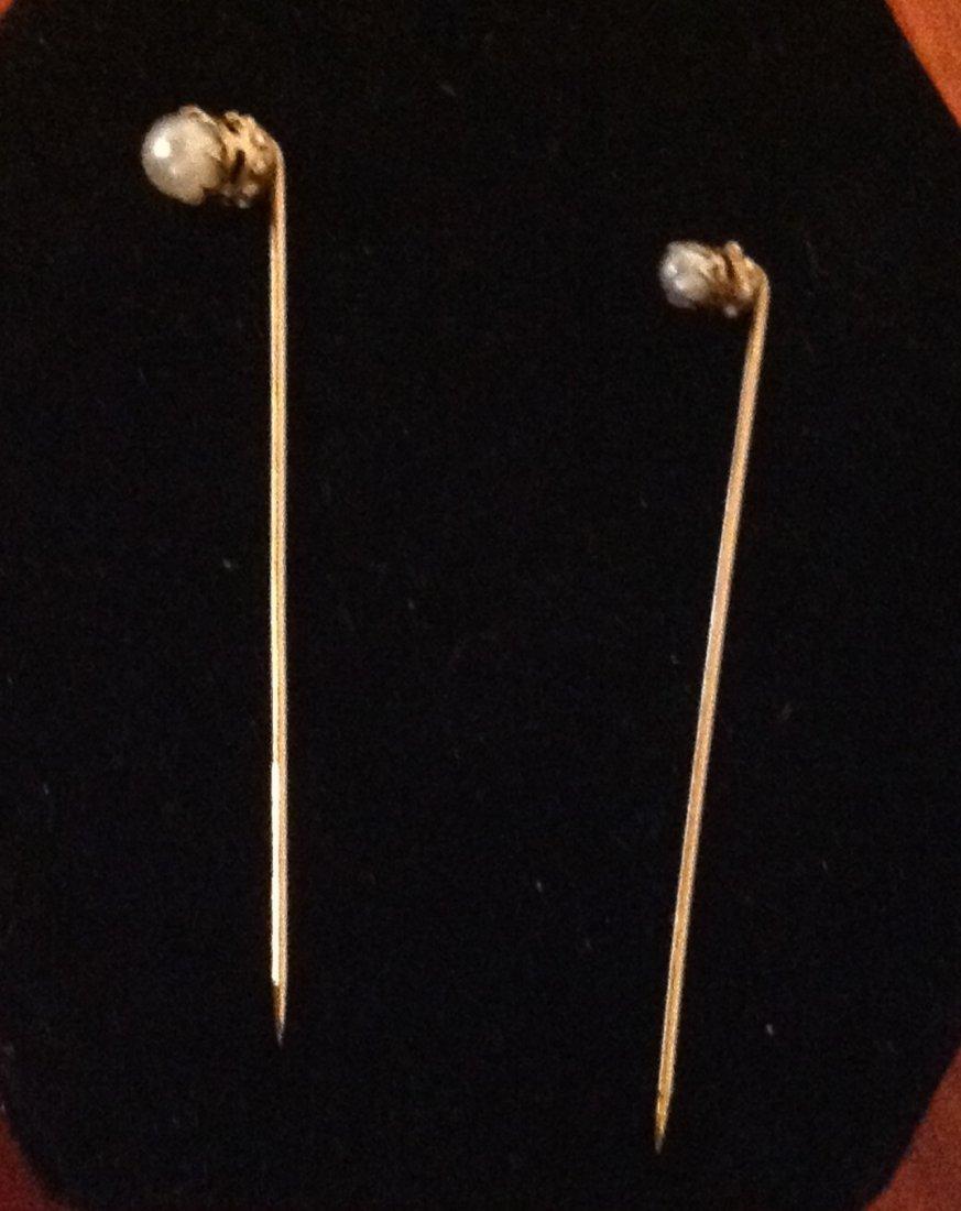 Pair of 14k Pearl Stick Pins; 1.5g
